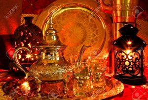 12100235-bedouin-tea-party-set-up-in-a-warm-oriental-candelight-atmosphere-stock-photo